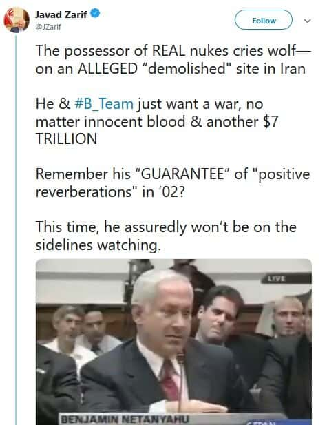 جواب ظریف به نتانیاهو