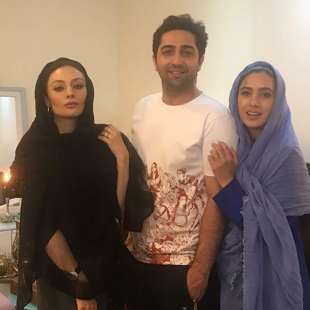 یکتا ناصر و همسرش منوچهر هادی و علی سخنگو و همسرش سارا نجفی در جشن تولد علی سخنگو