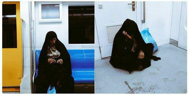 زن افغان در مترو تهران