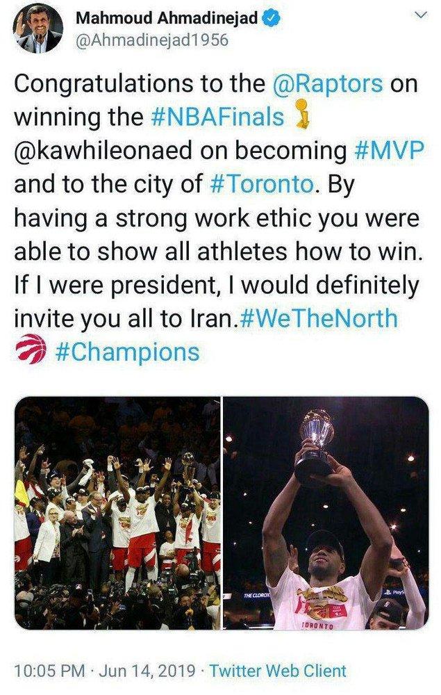 پیام احمدینژاد برای قهرمان NBA